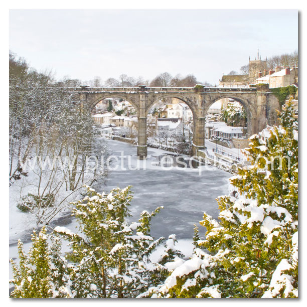 Frozen River Nidd at Knaresborough Yorkshire Christmas Card by Charlotte Gale