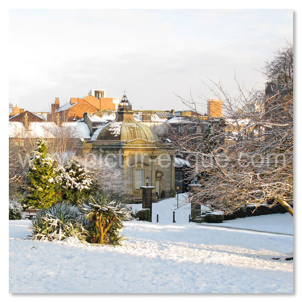 Harrogate Valley Gardens and Pump Room in the snow Christmas card by Charlotte Gale