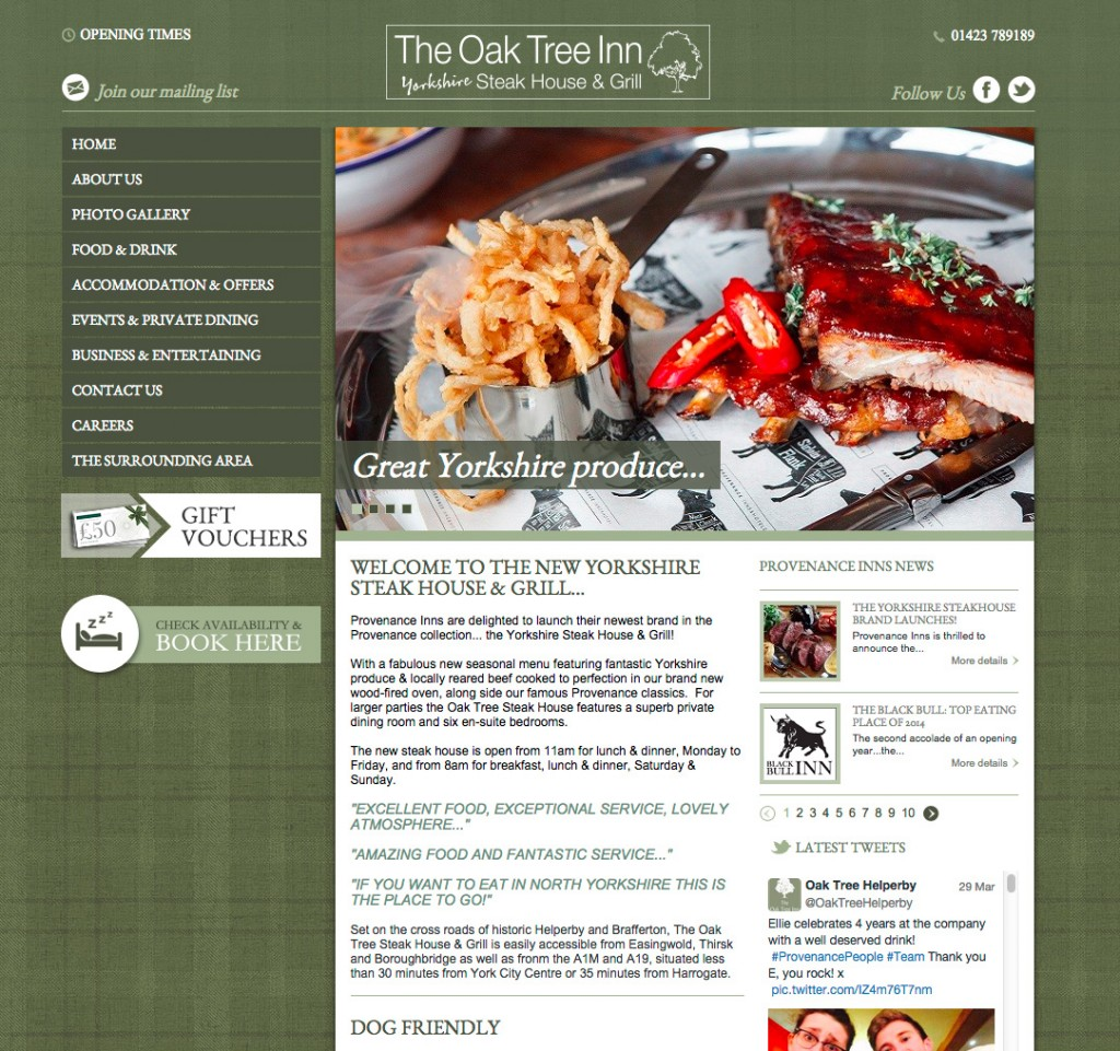 Oak Tree Inn website homepage