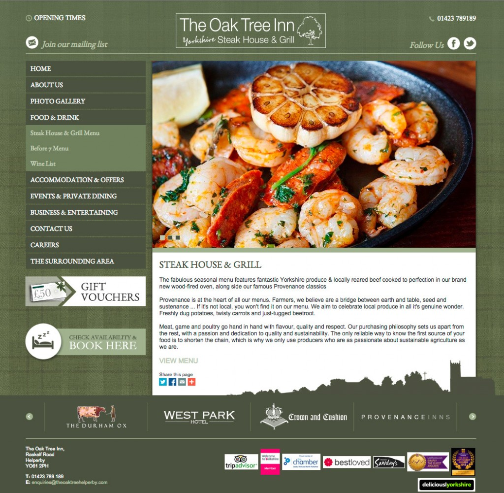 The Oak Tree Menu page