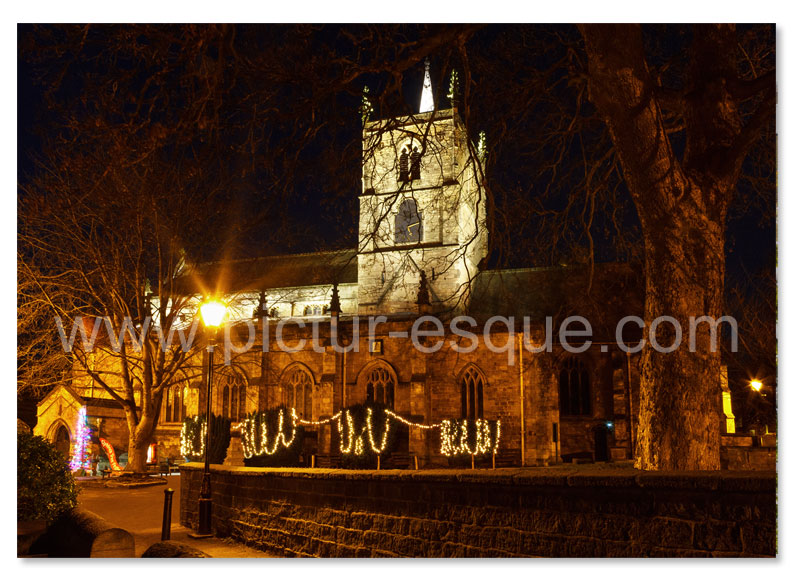 St Johns Church Knaresborough by night Christmas card