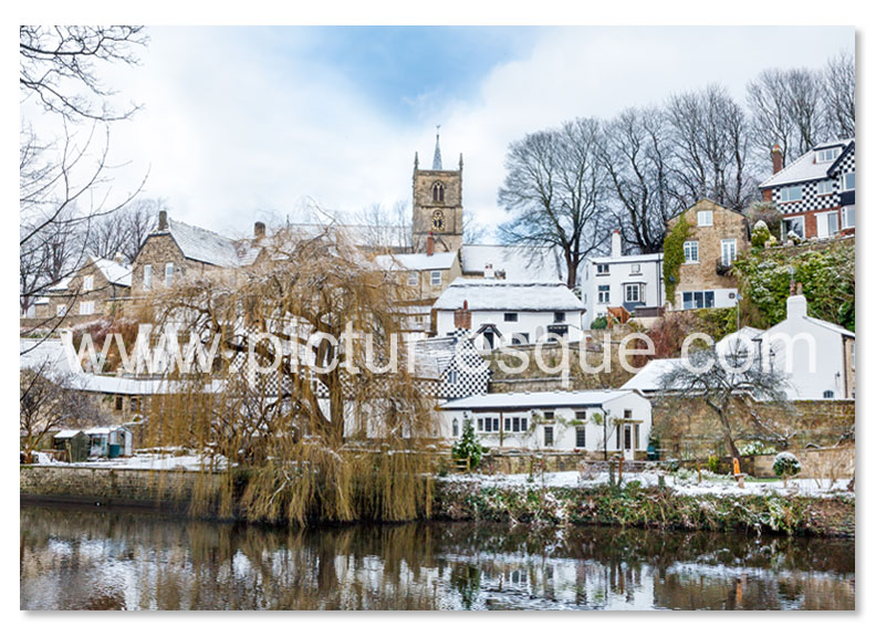 A Christmas card featuring a photo by Charlotte Gale of Waterside Knaresborough in the Snow