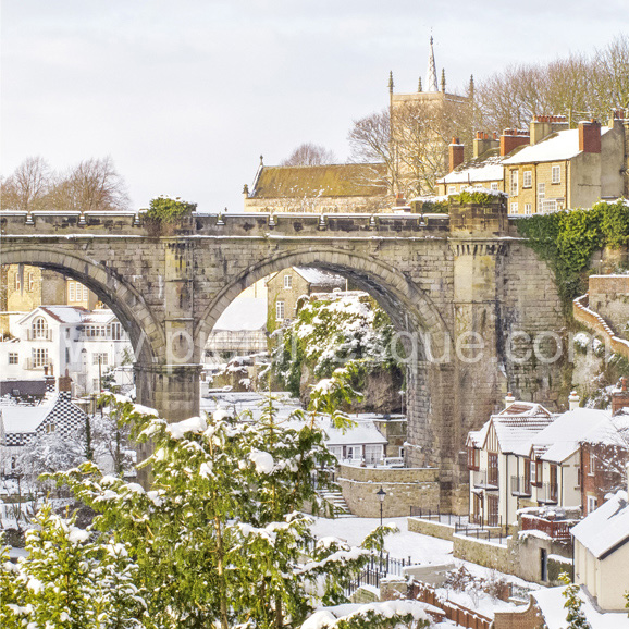 A photographic Christmas card featuring a photo of Knaresborough in the snow
