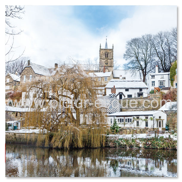 A blank photographic greetings card featuring a photo of the historic town of Knaresborough in North Yorkshire. Perfect for all occasions