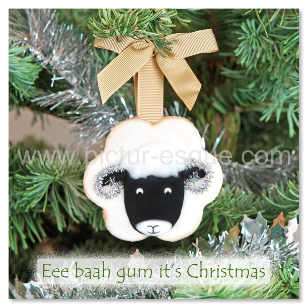 A Yorkshire Christmas Card featuring a Swaledale sheep Christmas tree decoration