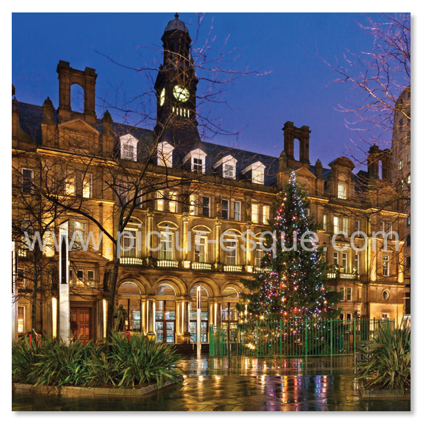 Christmas card featuring City Square in Leeds