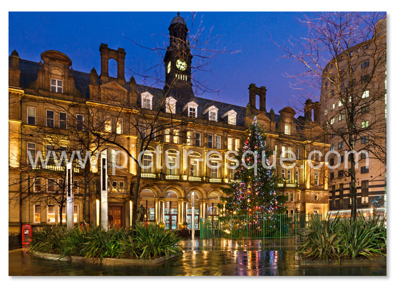 A Christmas card featuring a photo by Charlotte Gale of City Square in Leeds at Christmas